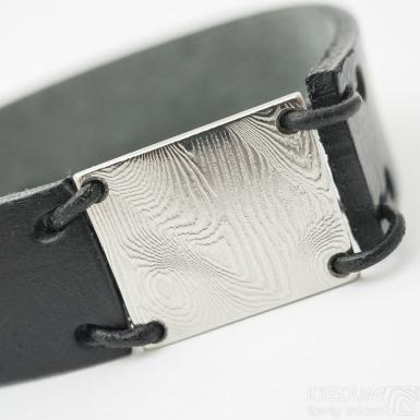 Manus 20 Damast dřevo - XL černý - Kožený náramek - SK3257