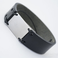 Kožený náramek - Manus 20 Steel XL - černá kůže