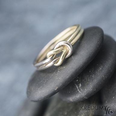 Marge duo - snubní prsteny žluté a bílé zlato -  velikost 58 síla drátku 1,5 mm - K 1388 (4)