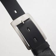 MEREDIUS a černý kožený pásek 3,5 cm - Luxusní damasteel spona na opasek, produkt SK2603