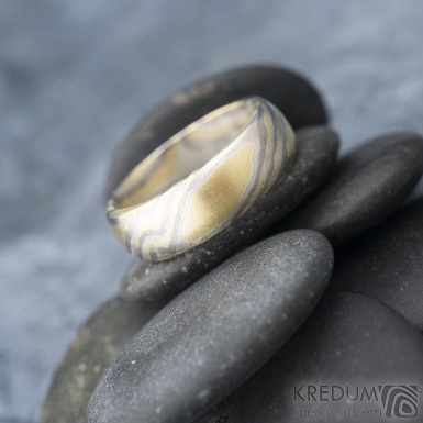 Mokume Gane - žluté zlato + stříbro + palladium - velikost 66, šířka 7,4 mm, tloušťka 2,3 mm, profil B - sk1794 (6)