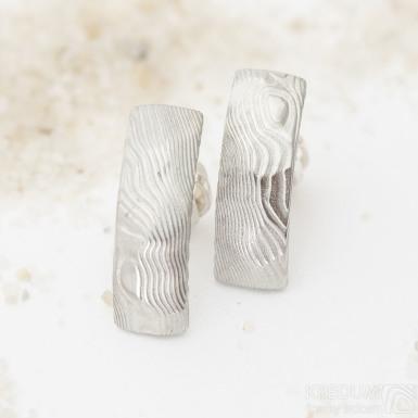 Moon Rocksteel - dřevo světlé - Kované damasteel náušnice, produkt SK3139