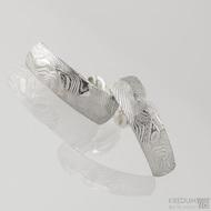 Kované damasteel náušnice - Moon Rocksteel, dřevo světlé