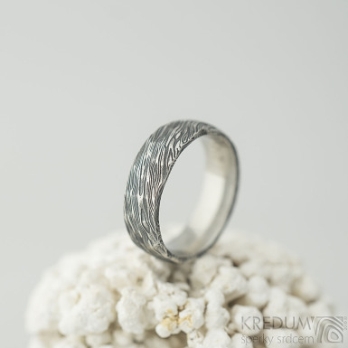 Natura - 54, šířka 6 mm, struktura voda extra TM - Kované damasteel snubní prsteny - k 2129 (7)
