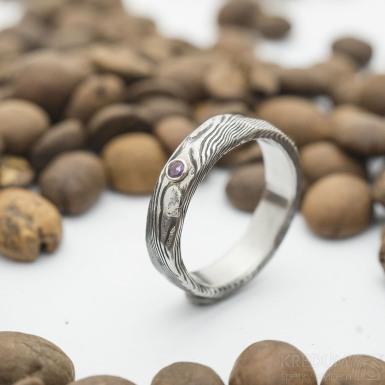 Natura a ametyst  do Ag - velikost 52, šířka 4,6 mm, tloušťka 1,7 mm, děvo TM, vnitřek rovný - Damasteel snubní prsten - sk2934 (6)