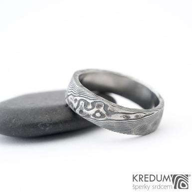 Natura - Snubní prsten nerezová ocel damasteel, SK1356