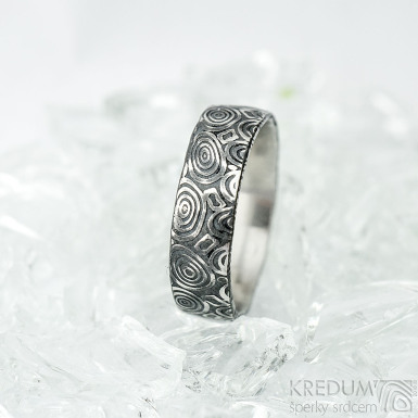 Natura - kolečka - Snubní prsten nerezová ocel damasteel