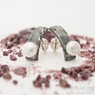 Natura s perlou - Damasteelové náušnice - k 2648 (3)