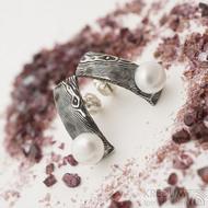 Natura s perlou - Damasteelové náušnice - k 2648