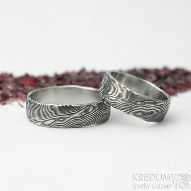 Natura - dřevo - Snubní prsten nerezová ocel damasteel