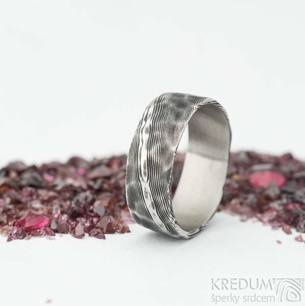 Natura - velikost 61, šířka 6,5 mm, tloušťka 1,3 mm, dřevo - lept 100% TM - Damasteel snubní prsteny - sk1974 (5)
