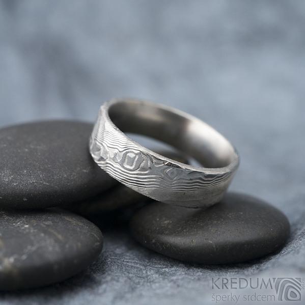 Natura white - Snubní prsten nerezová ocel damasteel, SK1608