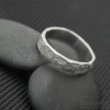 Natura white, voda - Snubní prsten nerezová ocel damasteel, SK3243