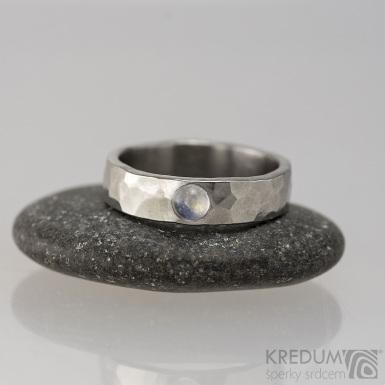 Draill a měsíční kámen - Snubní prsten kovaná nerezová ocel, produkt č. 1652