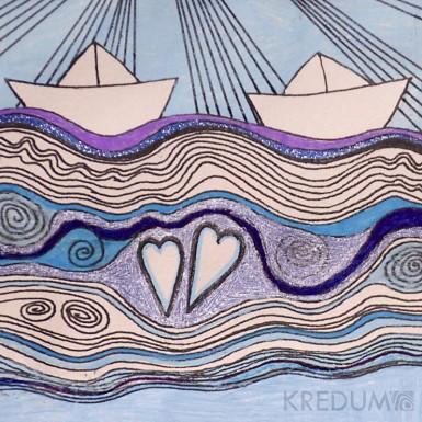 Ručně malované oznámení k svatbě - Spolu plout
