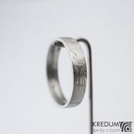 Prima - 64,5 CF, šířka 5 mm, tloušťka 1,7 mm, profil F, 50% světlý - Damasteel snubní prsteny sk1296 (3)