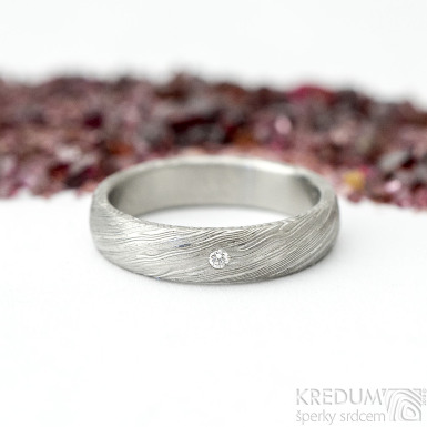 Prima a čirý diamant 1,5 mm, voda - 49, šířka 4 mm, tloušťka 13,6 mm, lept 75% SV, B - Damastele snubní prsteny, SK2117 (4)