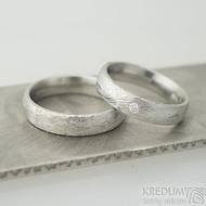 Prima a diamant 2,3 mm - 58, a Prima - 63, oba 5 mm,  tloušťka 2 mm, voda 75%SV, E - Snubní prsteny z oceli damasteel