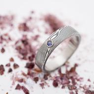 Prima a safír do Ag - vel 60, šířka 5 mm, dřevo 75% zatmavený, profil C - Damasteel snubní prsten