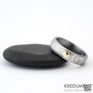 Snubní prsten kovaná nerezová ocel damasteel - PRIMA + zlatý suk do 4 mm