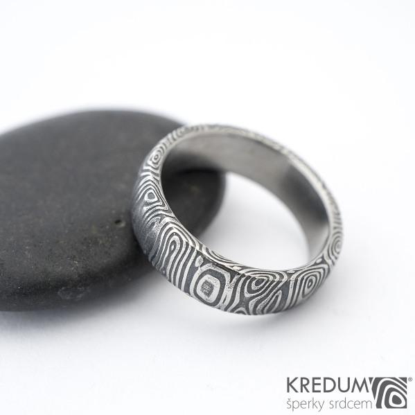 Prima kolečka - Kovaný snubní prsten z oceli damasteel, SK1284