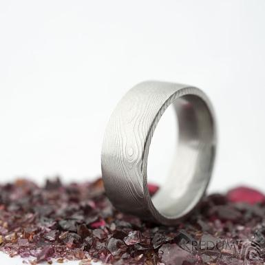 Prima dřevo - 53,5, leptaný vnitřkem, šířka 7 mm, tloušťka 2 mm, lept 25% SV, F - Snubní prsten damasteel SK2114 (5)