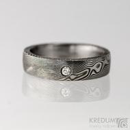 Prima, dřevo s1657 - diamant 2,3 mm - 48 4,6  mm lept 100% TM profil C - Snubní prsteny damasteel (4)