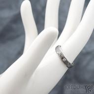 Prima line a diamant 2 mm - 53, šířka 4,5 mm, tl 1,4 mm, dřevo, 75TM, B - Damasteel snubní prsteny - k 1267 (6)