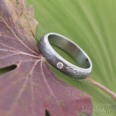 Prima line a diamant 2 mm - damasteel prsten - voda, profil A-B, lept 75%, zatmavený, 50mm, 4 mm,cca 1,6 mm