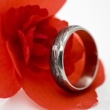 Prima line - damasteel zásnubní/snubní prsten, struktura voda, velikost 53, šířka 5 mm, lept 75% - zatmavený - produkt SK3042