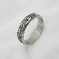 Prima line, kolečka - 56,5, šířka 5 mm, tloušťka 1,5 mm, lept 75% TM - Snubní prsten z oceli damasteel, SK3038 (2)