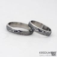 Snubní prsten damasteel - Prima line, dřevo 75% tmavé; 60/4,5 mm a 53,5/4,5 mm