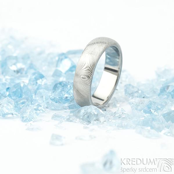 Prima - překované dřevo - 51, šířka 5 mm, tloušťka 1,7 mm, lept 75%SV, B - Damasteel snubní prsteny - sk1784 (4)
