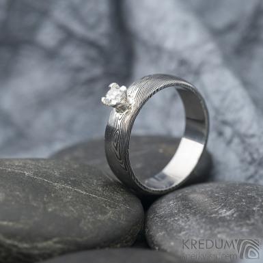Prima Princezna a zirkon 3,5 mm - 58, š 5,5 mm, tl. 1,5 mm, profil B, dřevo 75% TM - Damasteel zásnubní prsten - sk1767 (5)