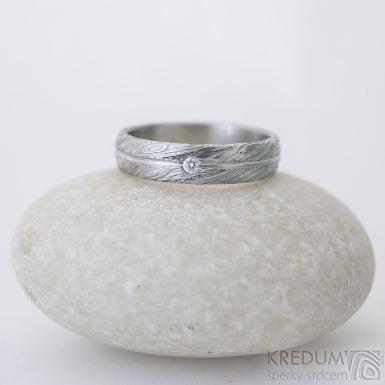 Prima s linkou a čirý diamant 1,7 mm - 52, šířka 4,5 mm, tloušťka 1,5 mm, voda 75% SV, B - Damasteel zásnubní prsten, SK2507