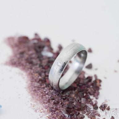 Prima s linkou a diamant 1,7 mm - 53, šířka 5 mm, tl. střední, kolečka 50 SV lesk, profil D - Damasteel snubní prsten, k 2504 (2)