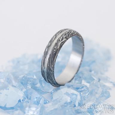 Prima s linkou - struktura voda - snubní prsten damasteel - lept 100%, zatmavený - produkt SK2494