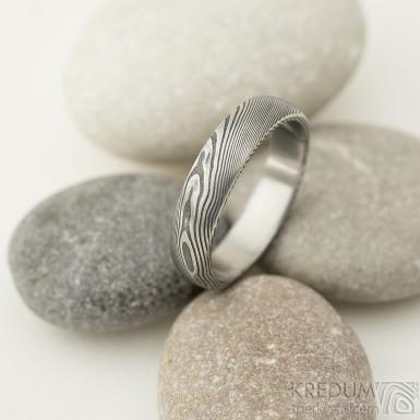 Prima - velikost 61, šířka 5 mm, tloušťka 1,7 mm, profil B, dřevo - lept 75% TM matný - Damasteel snubní prsten - sk2209 (3)