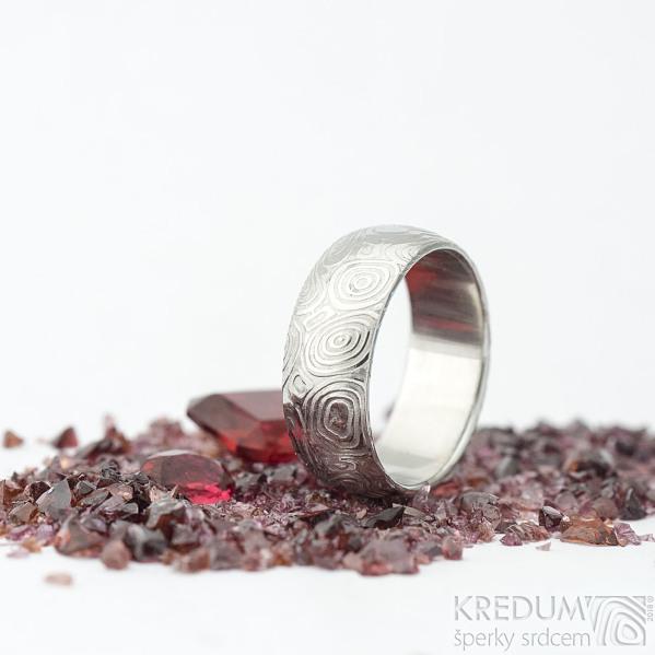 Prima vítr - velikost 54, šířka 7 mm, tloušťka 1,6 mm, lept 75% světlý, profil B - Damasteel snubní prsteny - sk1707 (4)