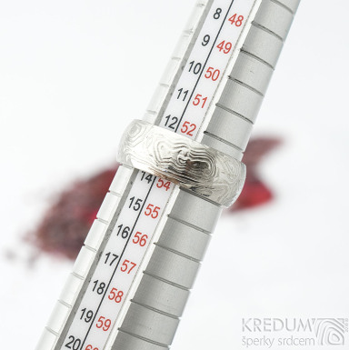 Prima vítr - velikost 54, šířka 7 mm, tloušťka 1,6 mm, lept 75% světlý, profil B - Damasteel snubní prsteny - sk1707 (5)