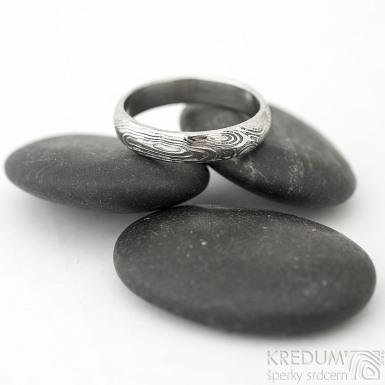 Prima - vítr - velikost 59, šířka 4,6 mm, tloušťka 1,6 mm, lept 75% světlý, profil B - Damasteel snubní prsteny - sk1705 (4)