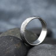 Prima vítr - velikost 61, šířka 6,2 mm, tloušťka 1,7 mm, 100% zatmavený, profil B - Snubní prsten damasteel, SK1704 (4)