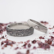 Prima, voda + diamant 2 mm - 52, 4 mm, 50 SV, B a 63, 6,5 mm, 100 TM, E - Damasteel snubní prsteny