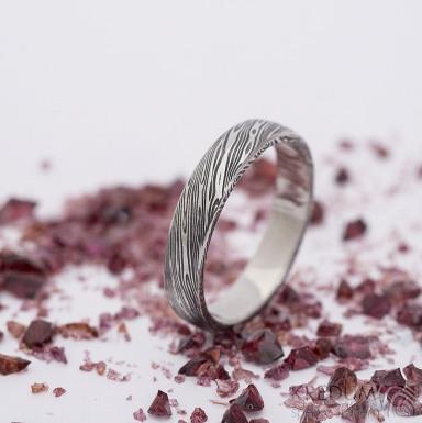 Prima, voda - velikost 53,5, šířka 3,9 mm, tloušťka slabá, lept 75% zatmavený, profil B - Damasteel snubní prsten - SK2656 (4)