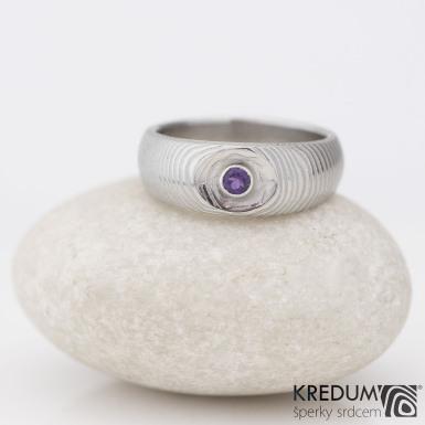 Eli a ametyst 3 mm  do stříbra - Kovaný prsten damasteel, SK1276