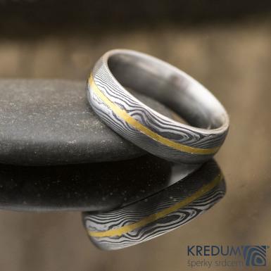 Golden line - prsten damasteel a zlato, S2229