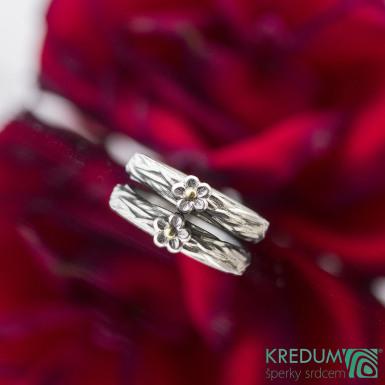 Gordik flower Ag/Au - Motaný snubní prsten nerezový, S2154