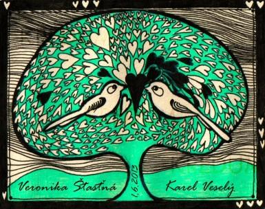 Ručně malované oznámení k svatbě - Ptáčci