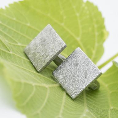 Quatro - Kované manžetové knoflíčky damasteel - kolečka, SK2884