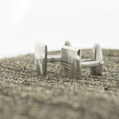Quatro - Kované manžetové knoflíčky damasteel, SK2978